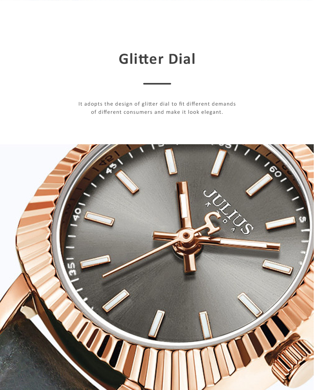 Glitter Dial Watch for Women Waterproof Bottom Cover Ultrafine Leather Strap Quartz watch 1