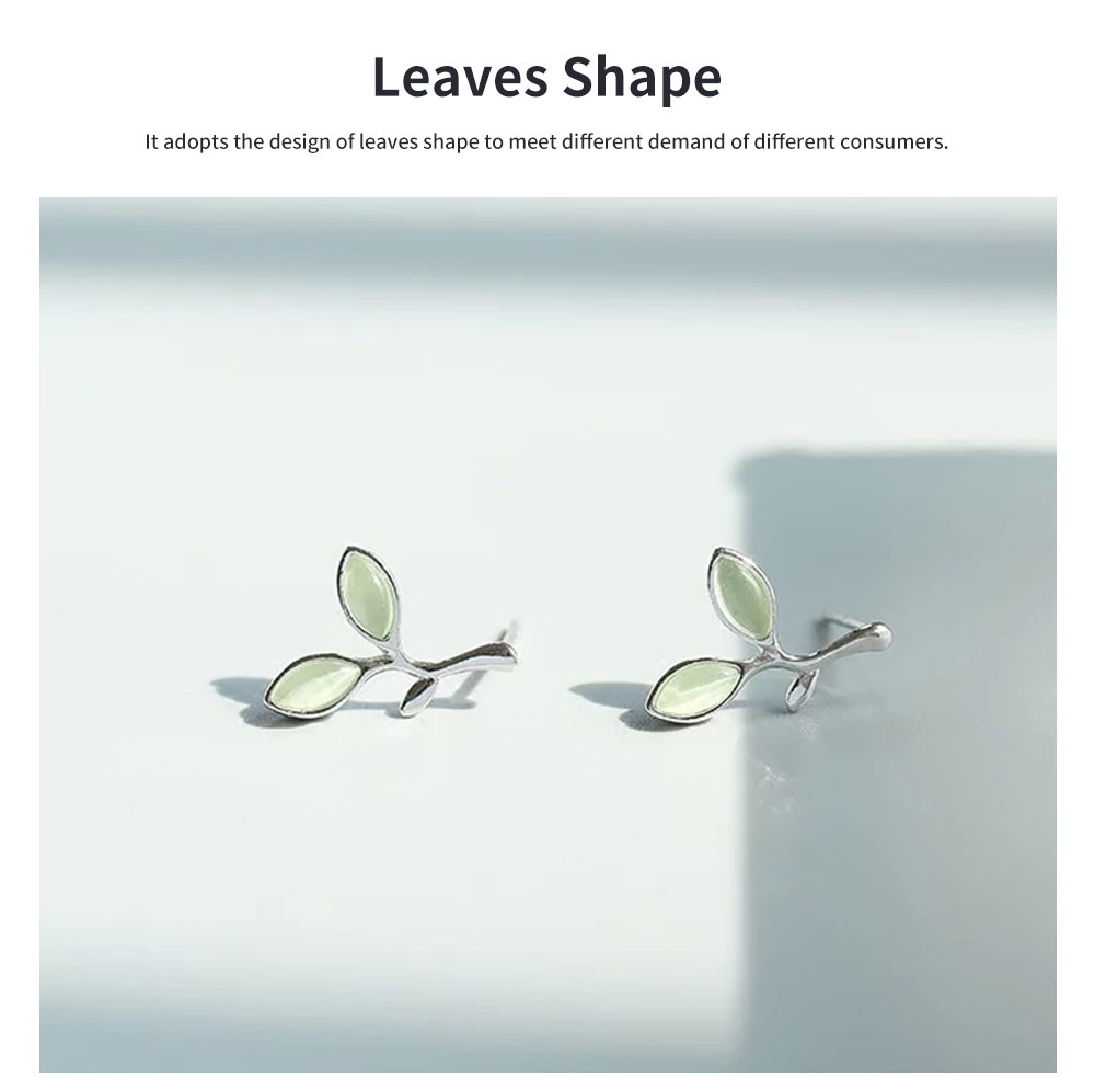 Green Leaf earrings for women Opals Pairs Suits Fashion and Simple Style 925 Sterling Sliver Ear Stud 1