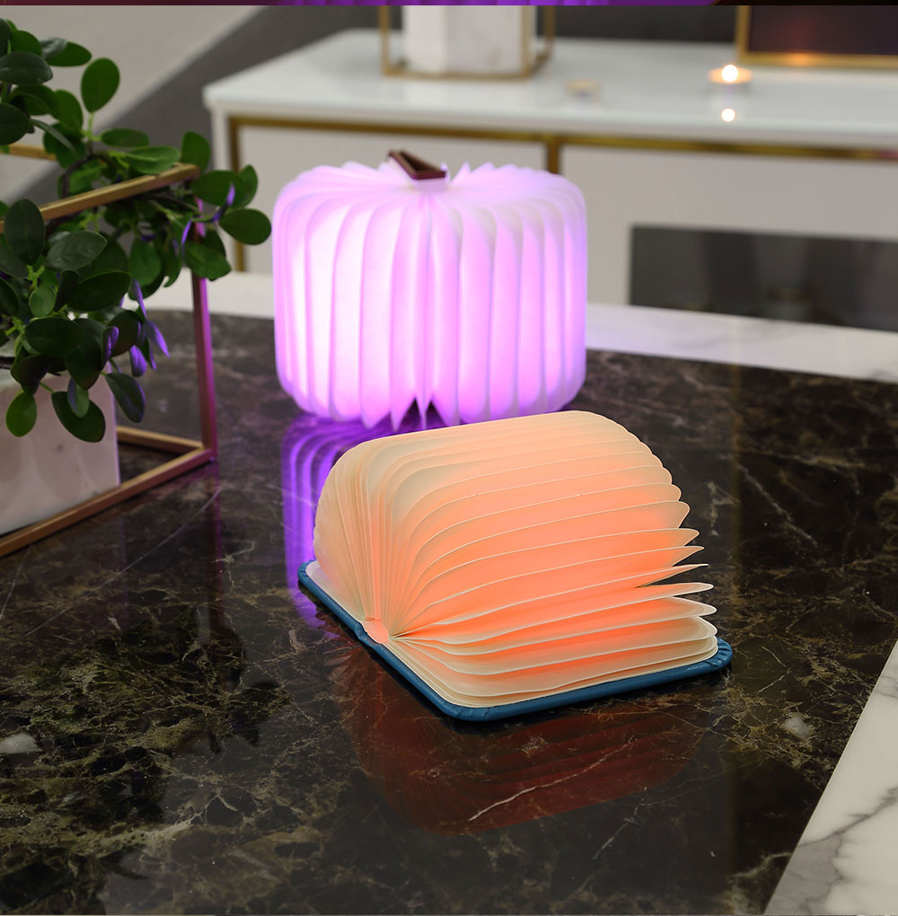 Creative Delicate Book Model Folding USB Charging Bedside Lamp Leather Cover Notebook Colorful Night Light 9