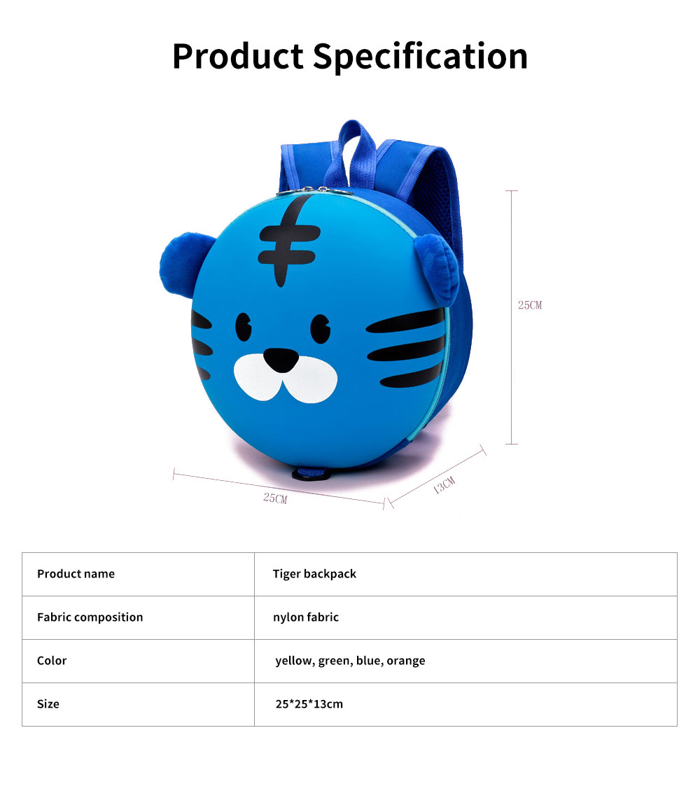 Tiger Backpack for Children Cute and Lovely Cartoon Style Environment Friendly Buckle Breathable School Bag 6