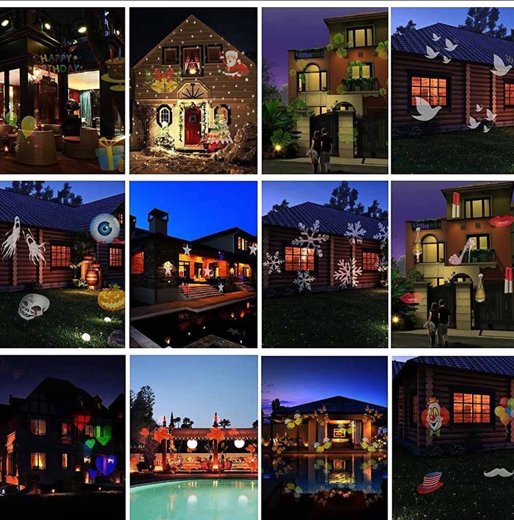 12 Types LED Projector Multi-color Christmas Laser Snowflake Colorful Light Fairy Lights 6W 100 - 240V 1PC For Halloween Christmas Wedding Birthday Party 4