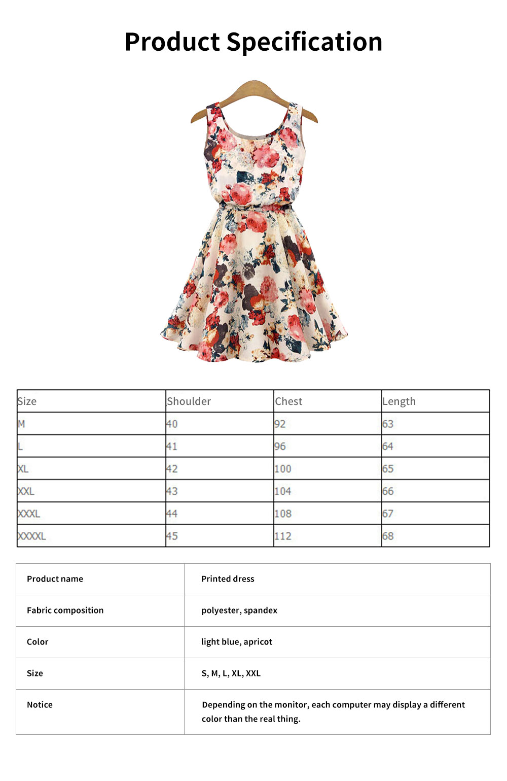 Printed Dress for Women Round Collar Exquisite Flower Printing Light Blue and Apricot Polyester One-piece Dresses Summer 6