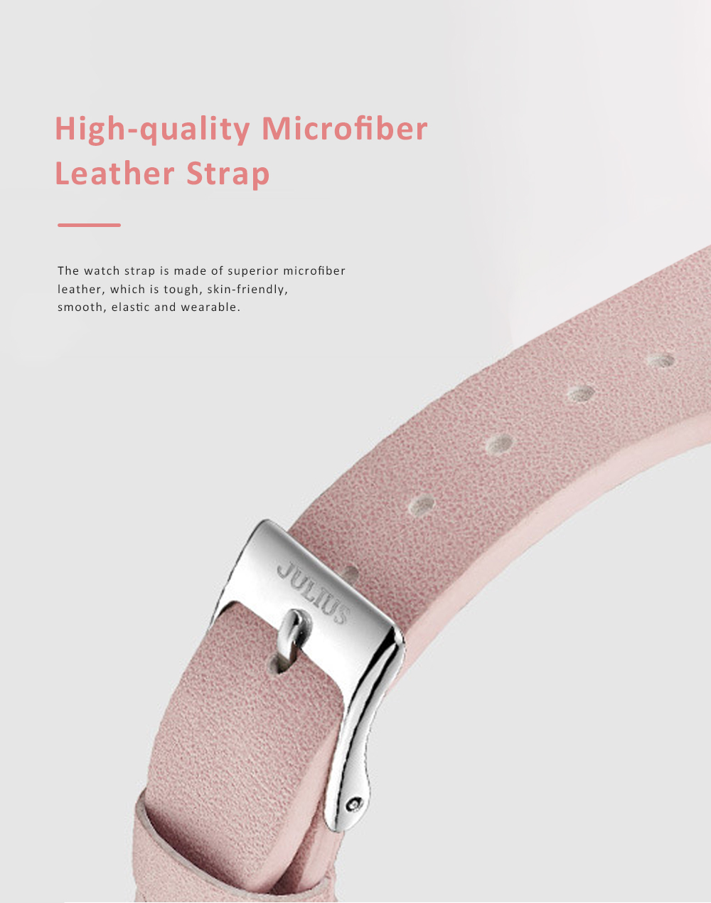 Lady Stylish Minimalist 30M Waterproof Quartz Wrist Watch with Microfiber Leather Strap Delicate Stitching Decoration 2