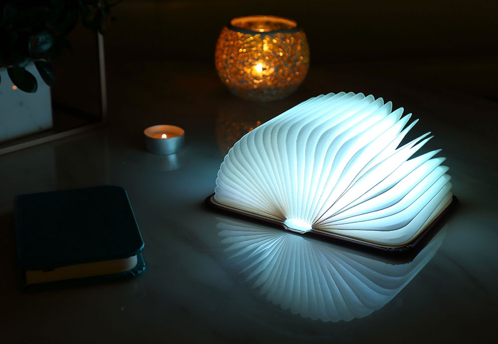 Creative Delicate Book Model Folding USB Charging Bedside Lamp Leather Cover Notebook Colorful Night Light 5