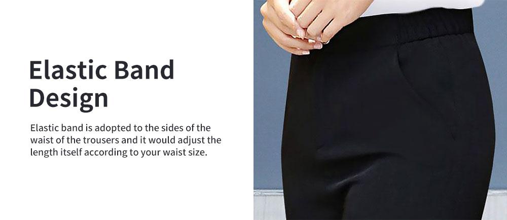 Stylish V-Neck Line Chiffon Shirt Loose Pants Suit for Ladies Minimalist Geometric Figure Pattern Decorative Tops with Falbala Sleeves 6
