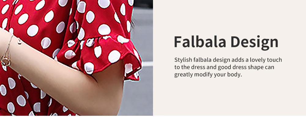 Elegant Fancy Dots Decorative V-Neck Line Dress Slim Fit Model Chiffon Lacing Dress with Falbala Sleeves 5
