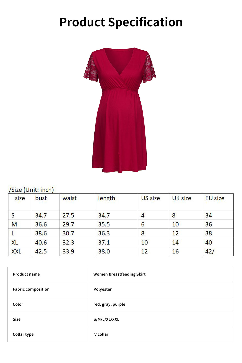 Lucky Lace Short Sleeve Stitching Dress for Pregnant Women, Lactation Dress, Maternity Dress 6
