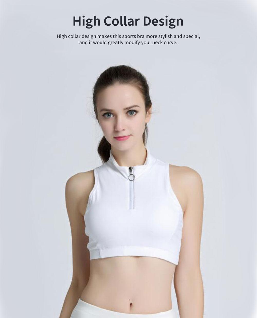 Minimalist High Collar Zipper Yoga Sports Bra for Ladies Fashion Comfortable Quick-dry Athletic Undergarment 2
