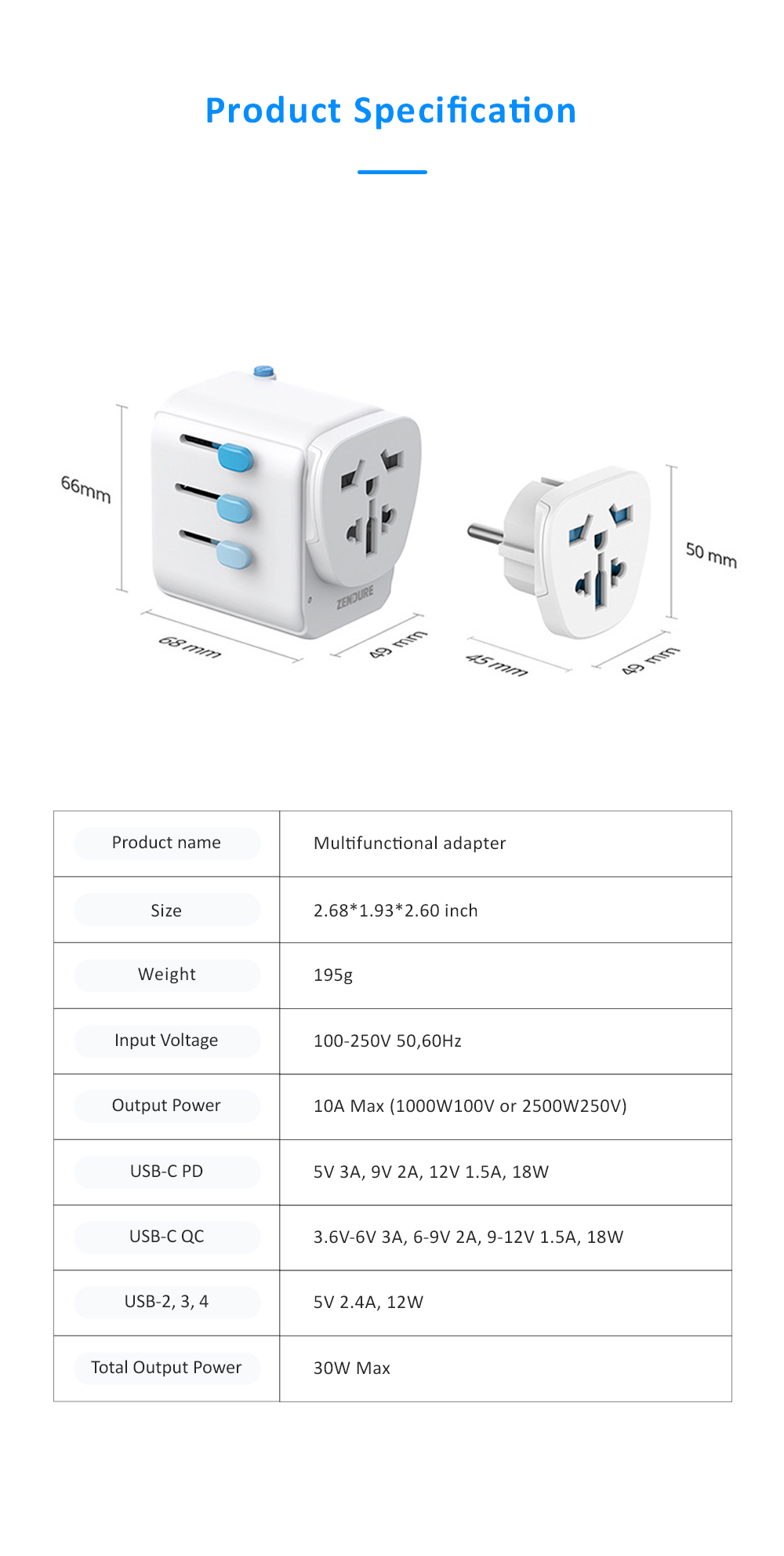 Multifunctional Traveling Two-way Adaptor with 4 USB Interfaces Phone Computer Charging Household Socket with US UK EU AU Standard 8