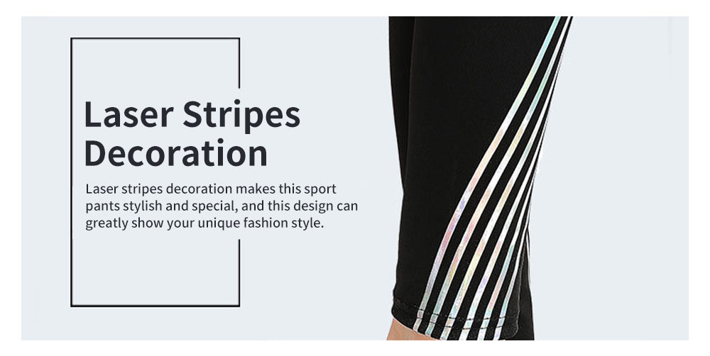 Simple Stylish Laser Stripes Decorative Sport Pants for Ladies Smooth Yoga Dance Exercise Fitness Pants 3