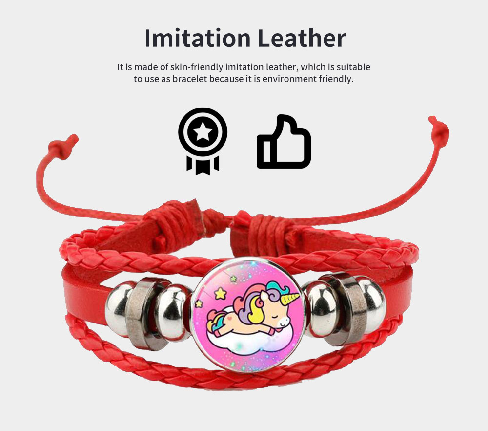 Unicorn Bracelet Ornaments Glass Material Imitation Leather Adjustable Belt Hand Catenary 4