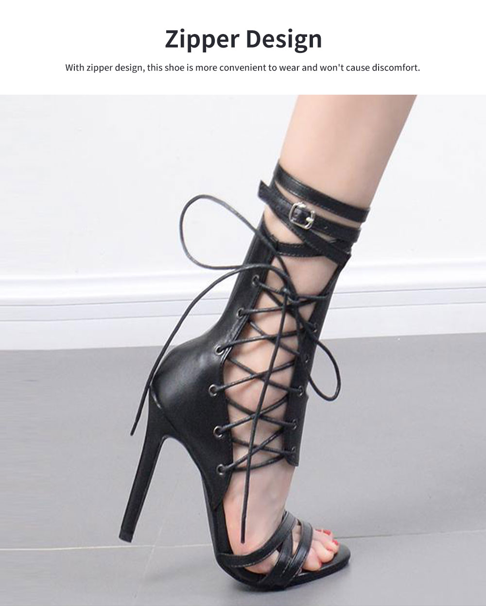 Large Strap Buckle High Heel Boots, Roman Style Fashionable Sexy Boots for Women 5