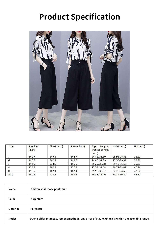 2PCS Minimalist Stylish Lines Printing Ladies Chiffon Shirt Loose Pants Suit Half Sleeve Tops Straight-leg Pants for Women 6