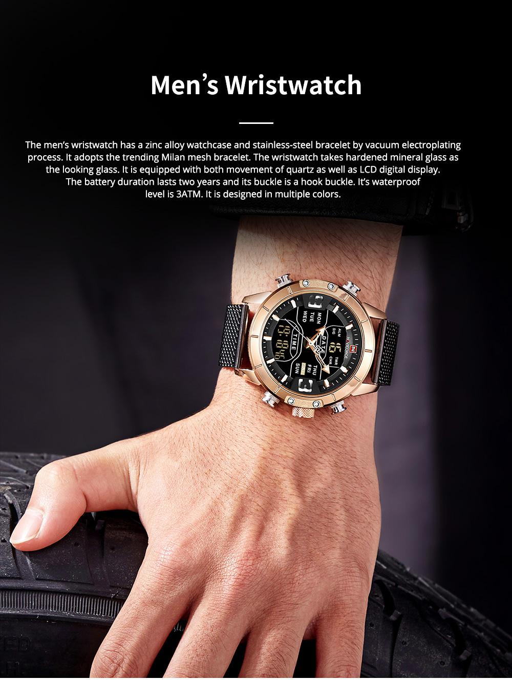 Fashionable Casual Men's Wristwatch with Stainless-steel Bracelet Waterproof Dual Display Movement Luminous Hand Quartz Sport Watch 0