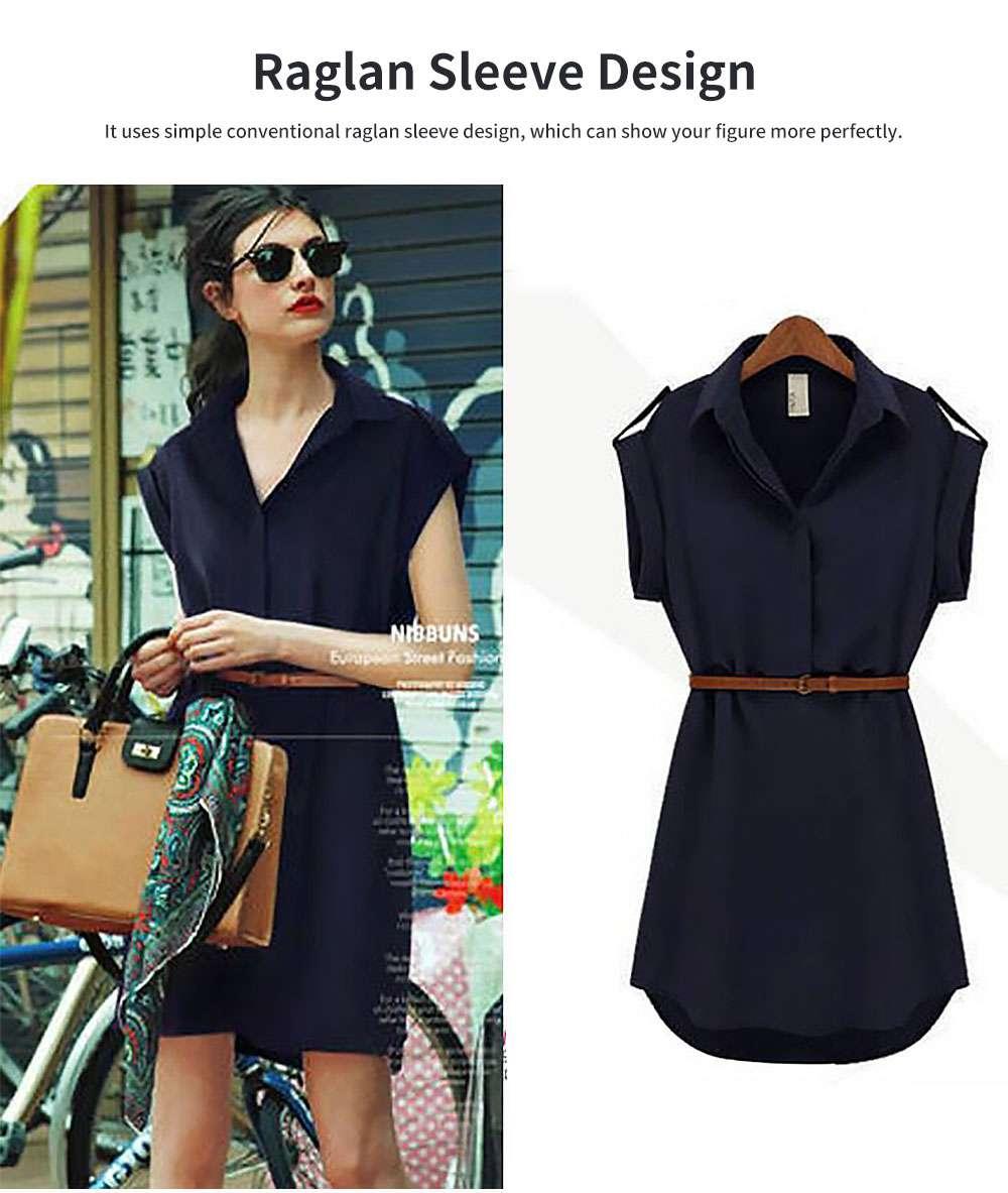 Raglan Dress for Women Lapel Design with Waist Strap Elegant Gorgeous One-piece Chiffon Short-sleeved Dress 2