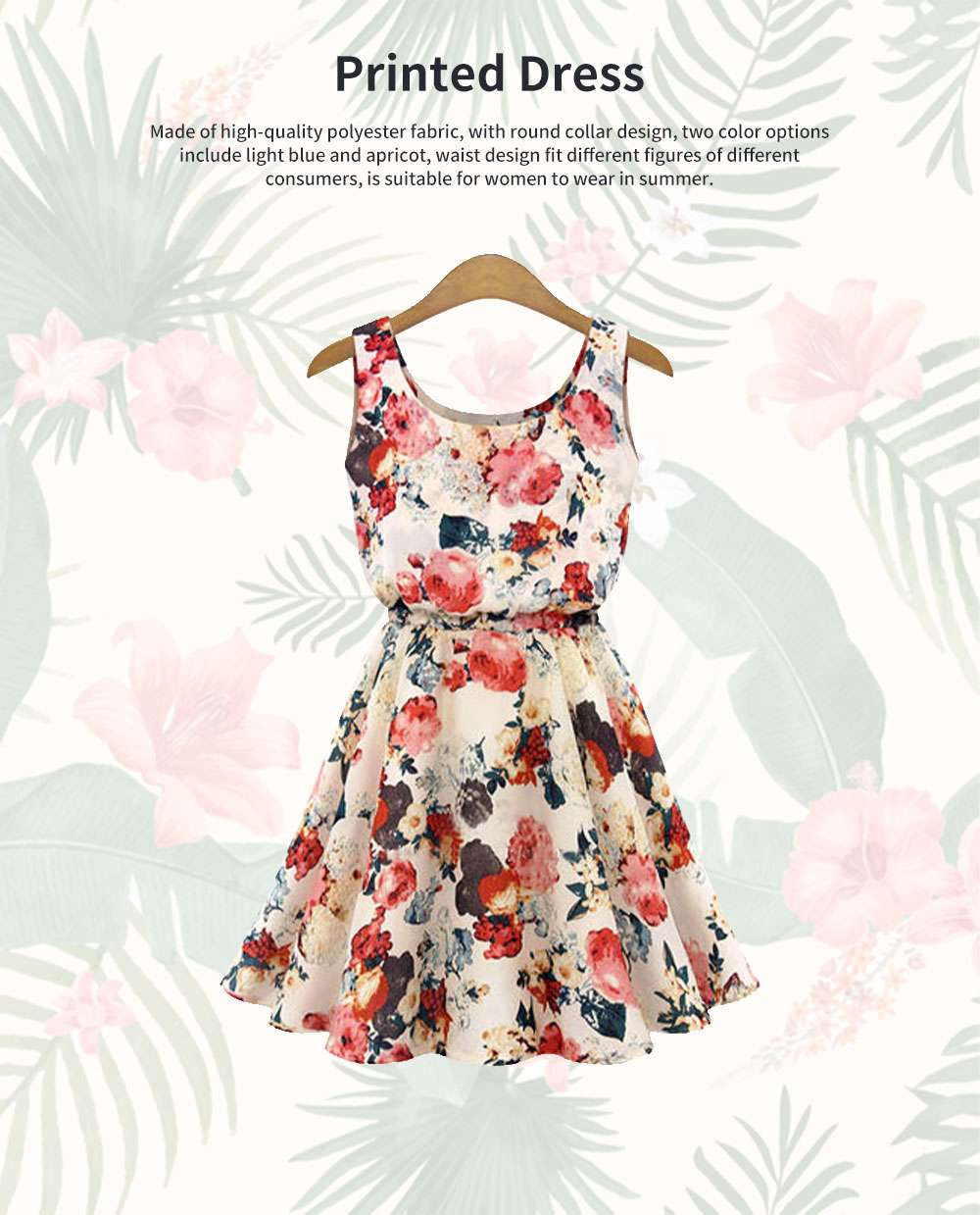 Printed Dress for Women Round Collar Exquisite Flower Printing Light Blue and Apricot Polyester One-piece Dresses Summer 0