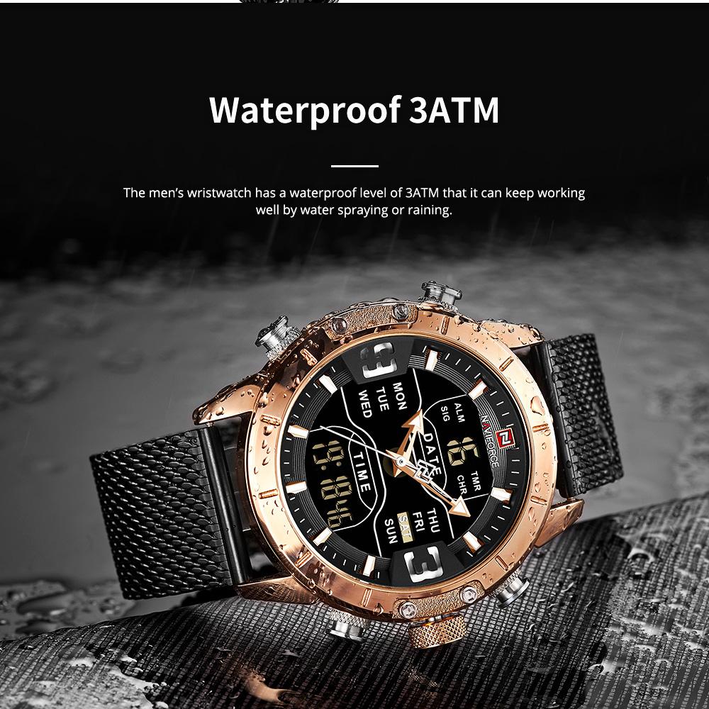 Fashionable Casual Men's Wristwatch with Stainless-steel Bracelet Waterproof Dual Display Movement Luminous Hand Quartz Sport Watch 2