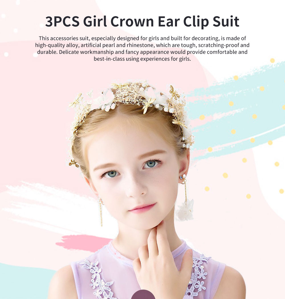 Fancy Flower Bees Model Artificial Pearl Decorative Hair Ornament Delicate Girl Crown Ear Clip Accessories Suit 3PCS 0