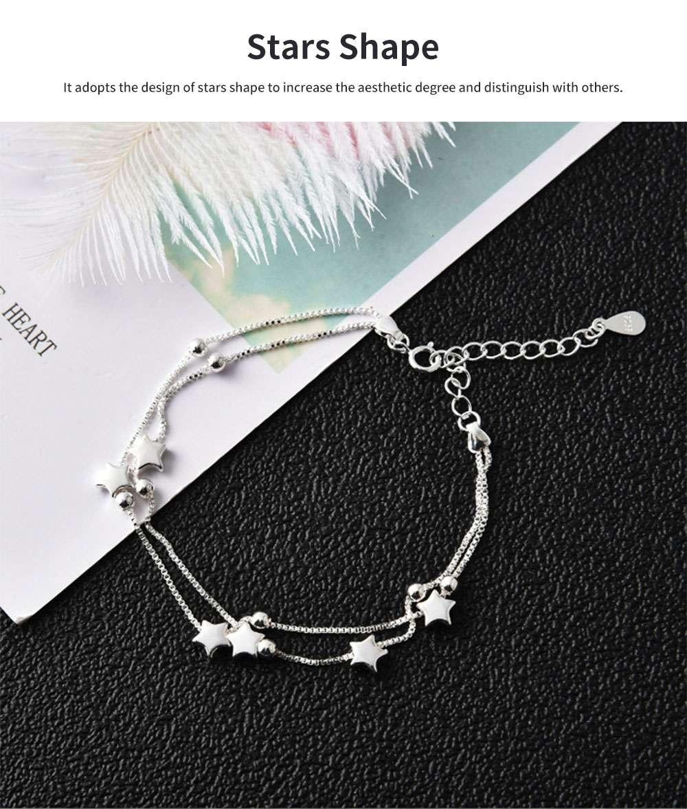 Luck Bracelet for Women Wide Range Stars Shape Korean Style 925 Sterling Silver Hand Catenary 1