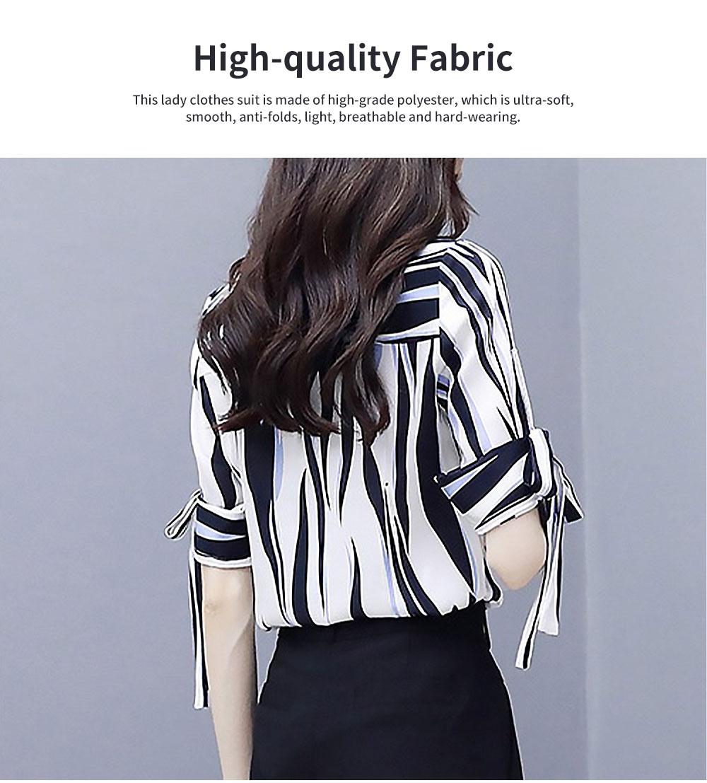 2PCS Minimalist Stylish Lines Printing Ladies Chiffon Shirt Loose Pants Suit Half Sleeve Tops Straight-leg Pants for Women 1