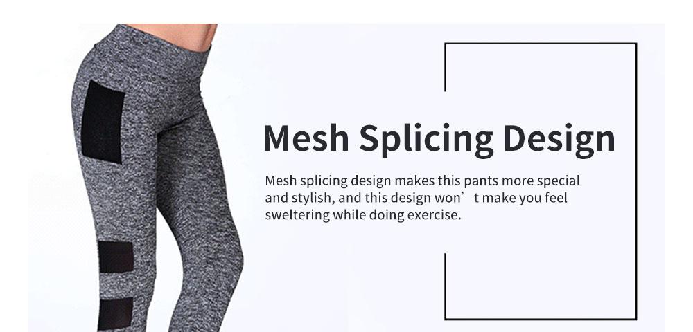 Minimalist Fashion Mesh Splicing Sport Pants for Ladies Breathable Slim Fit Yoga Dancing Exercise High Waist Pants 4