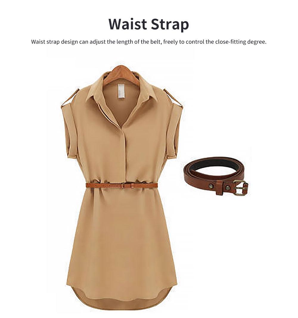 Raglan Dress for Women Lapel Design with Waist Strap Elegant Gorgeous One-piece Chiffon Short-sleeved Dress 1