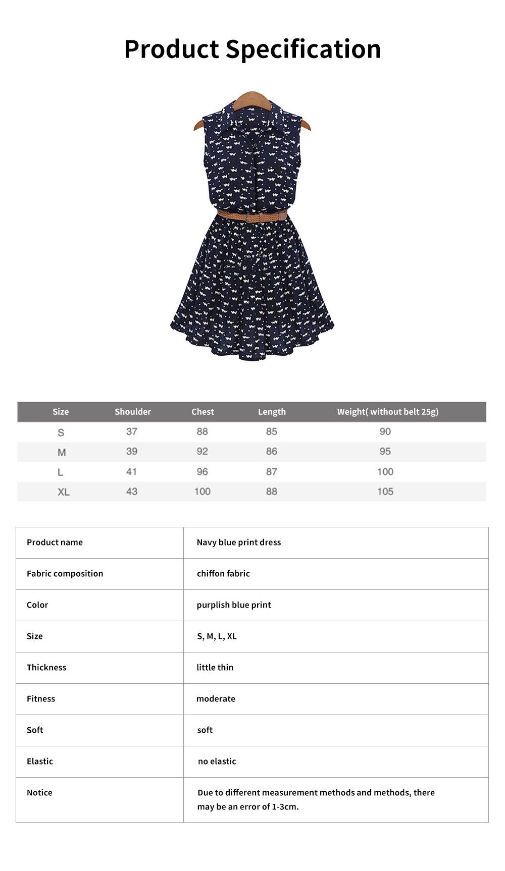 Navy Blue Print Dress for Women Lapel and Sleeveless Design Chiffon One-piece Elegant and Gorgeous Dress 6