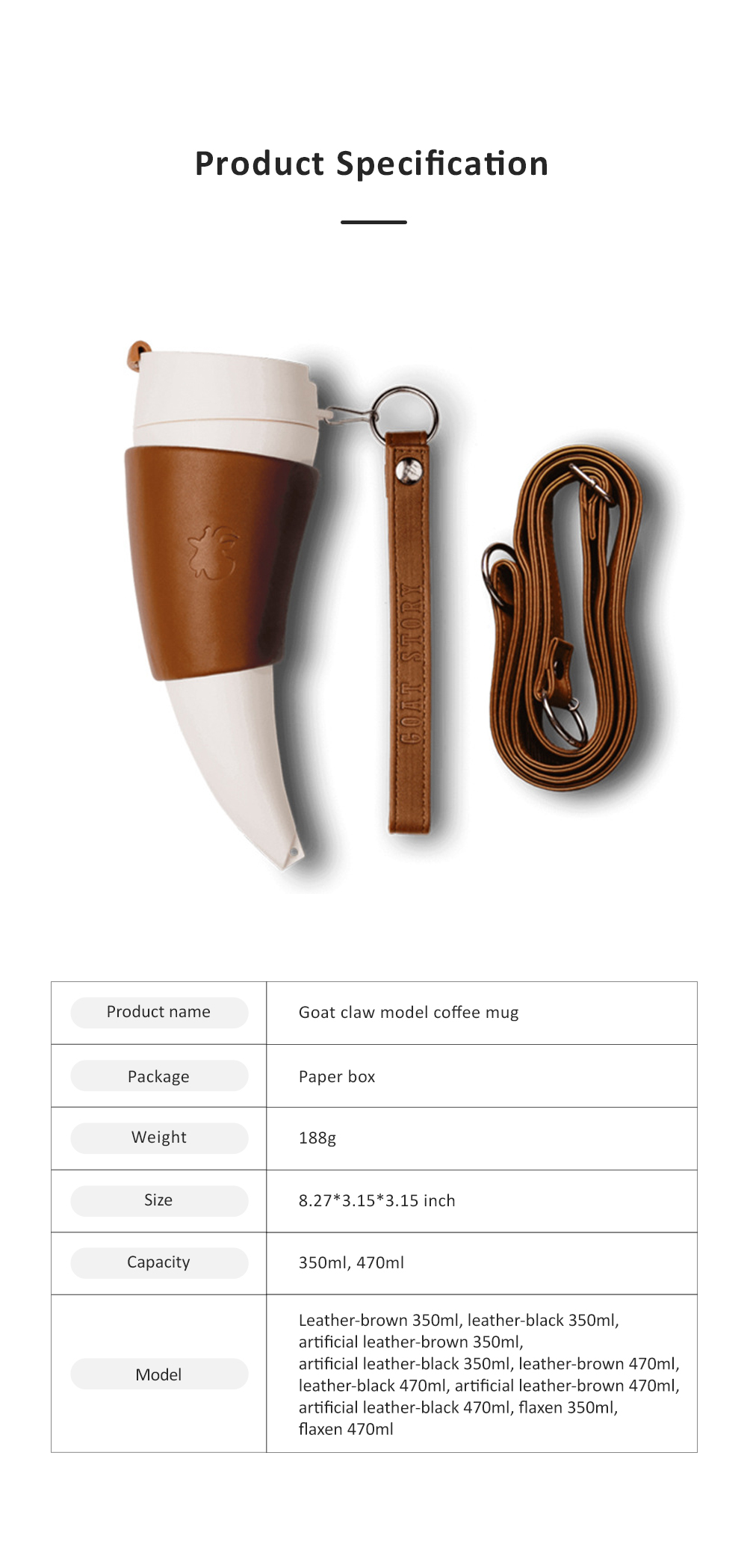 Stylish Creative Goat Claw Model Coffee Mug With Cover Leather Cup Cover Supporter Portable Outdoors Cup 6
