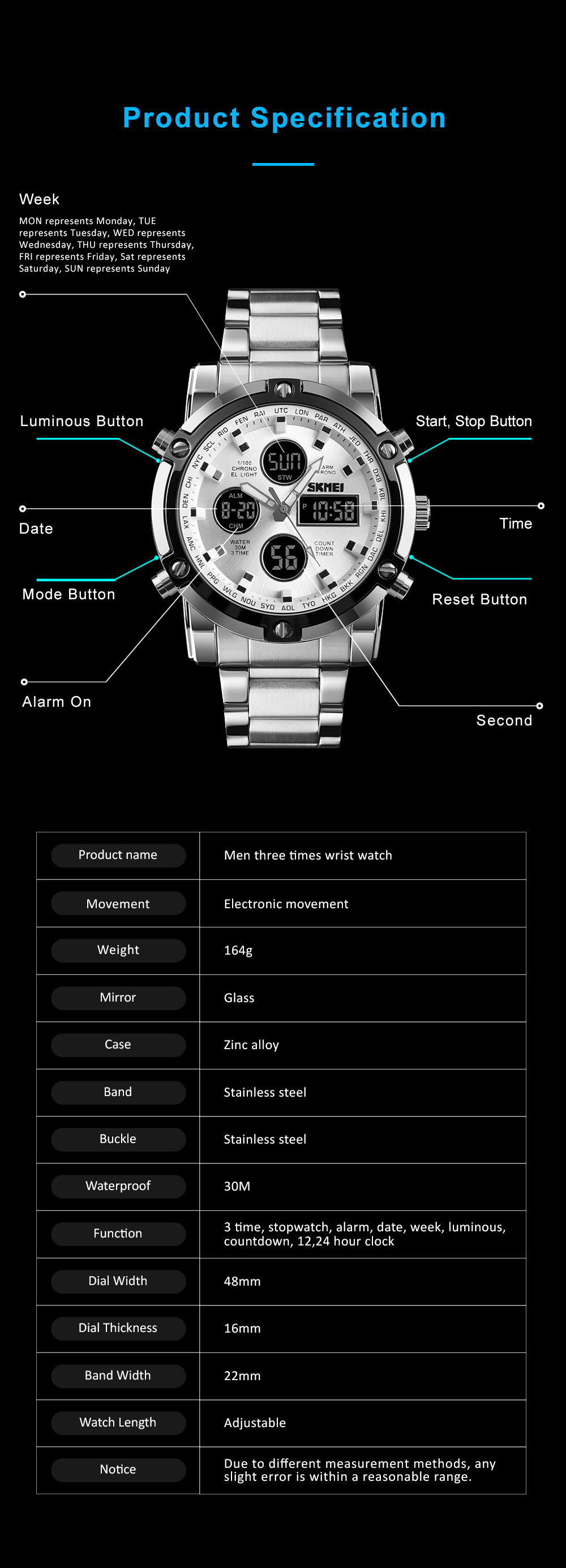 Minimalist Casual Fashionable Multifunctional Three Times Big Dial Men Electronic Movement Wrist Watch With Classic Steel Strap 8