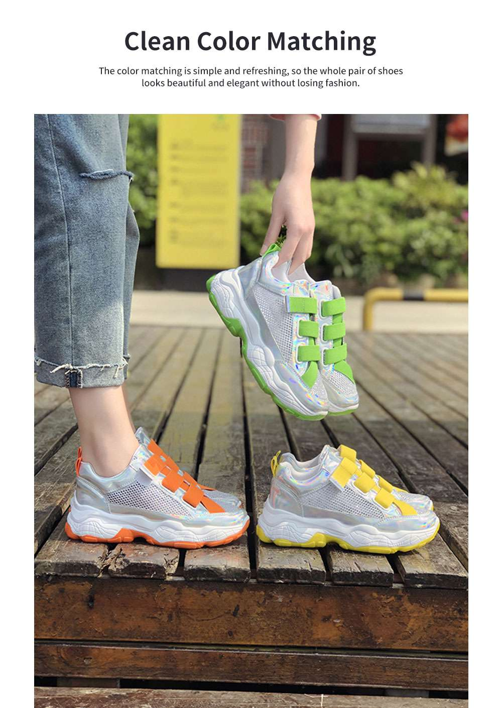 Student's Mesh Hollow Sneakers Breathable Magic Sticker Thick-soled Muffin Shoes, Women's Sneakers 1