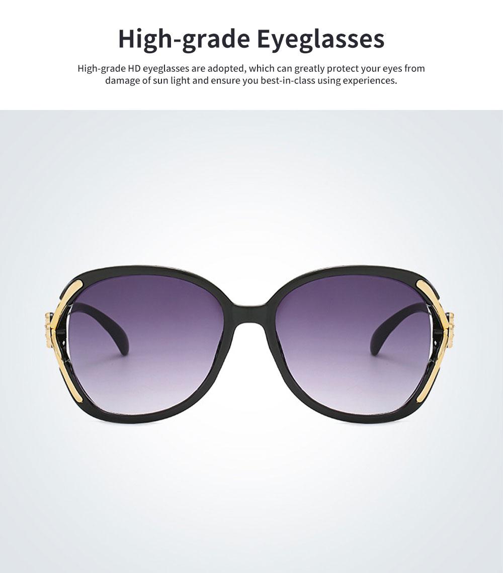 Elegant Fancy Gradient Eyeglasses Ladies Sunglasses UV Sunshine Protection Glasses with Delicate Hollow Clover Pattern Decoration 2