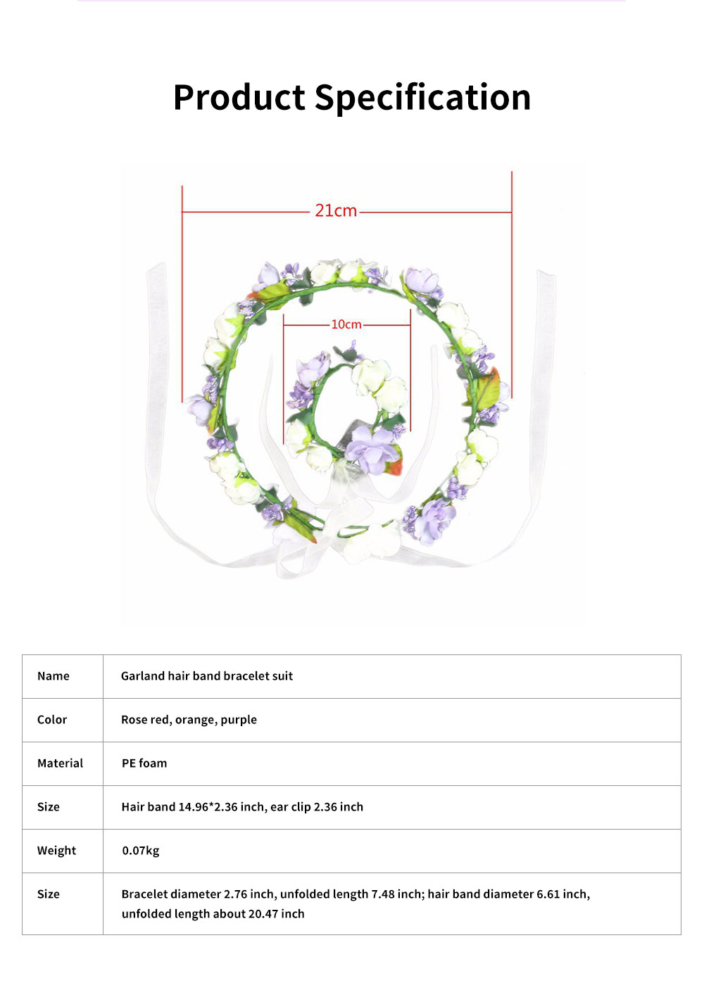 Elegant Fancy Artificial Flower Decorative Hair Band Bracelet Wedding Vacation Shooting Garland Hair Accessories Hand Chain 5
