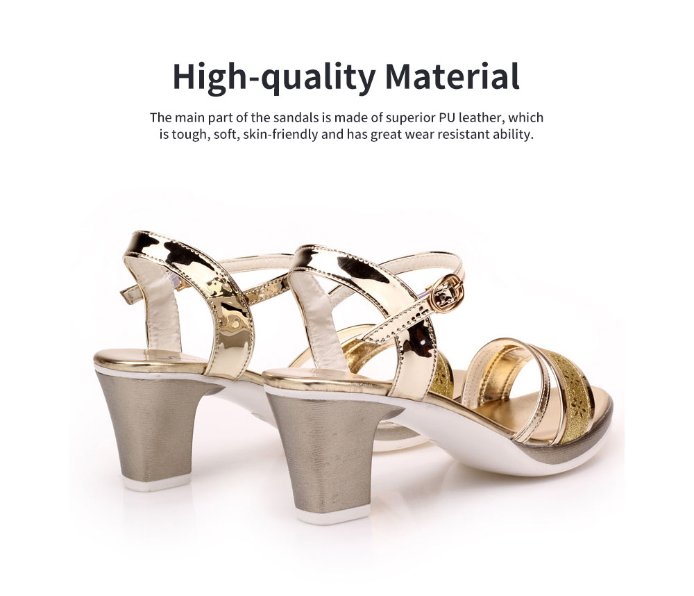 Fancy Elegant Shiny Surface Chunky Heels Leather Sandals Hollow Flower Pattern Upper Peep-Toe High Heel with Metal Buckle 6