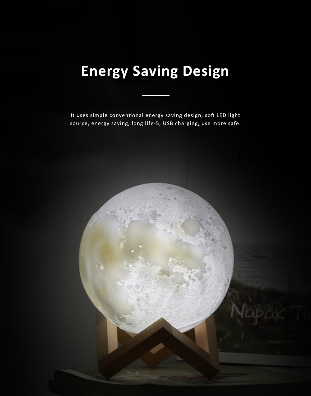 Moon shaped Round LED Night Lights Simple Switch 3 Colors Energy Saving Simulation Moon Lamp Decoration Light 2