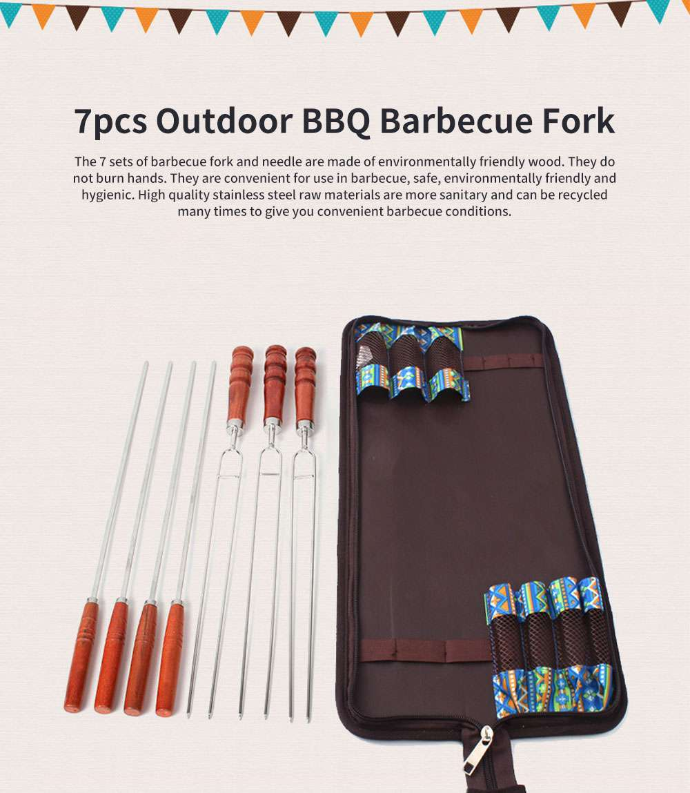 7 Sets Outdoor BBQ Barbecue Fork Stainless Steel U-shaped Barbecue Sticks, Barbecue Fork with Green Wooden Handle for Picnic 0