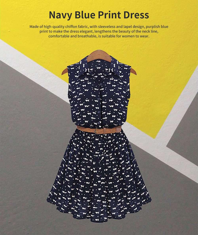 Navy Blue Print Dress for Women Lapel and Sleeveless Design Chiffon One-piece Elegant and Gorgeous Dress 0