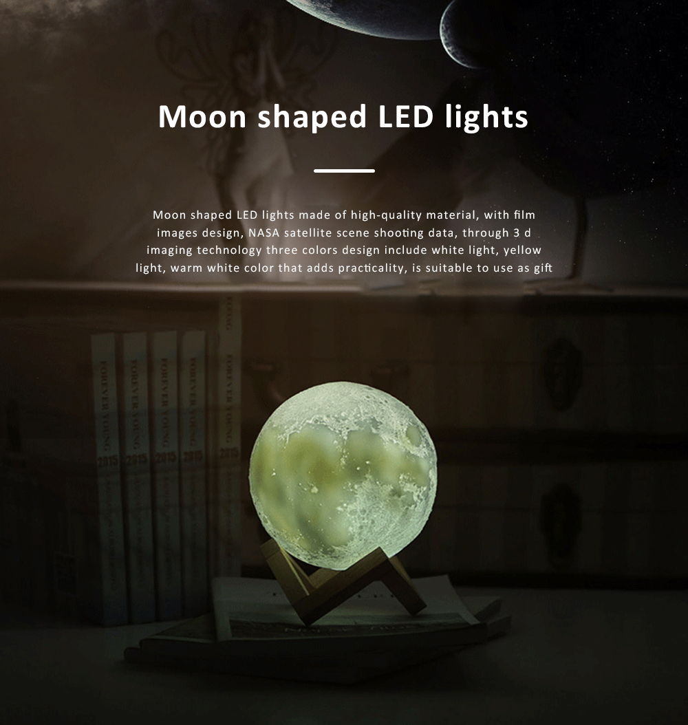 Moon shaped Round LED Night Lights Simple Switch 3 Colors Energy Saving Simulation Moon Lamp Decoration Light 0