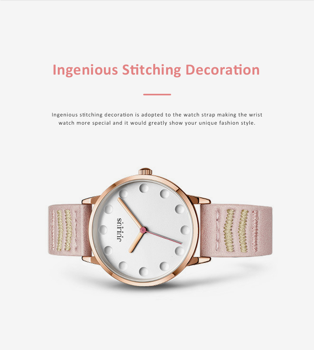 Lady Stylish Minimalist 30M Waterproof Quartz Wrist Watch with Microfiber Leather Strap Delicate Stitching Decoration 5