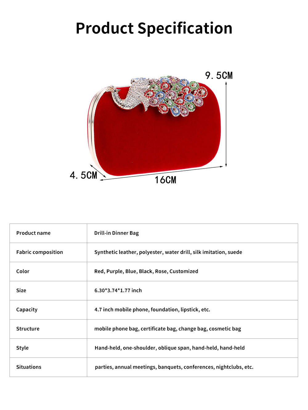 Drill-in Dinner Bag European and American Fashion Ladies' Banquet Bag Peacock Bag for Evening Dress 6