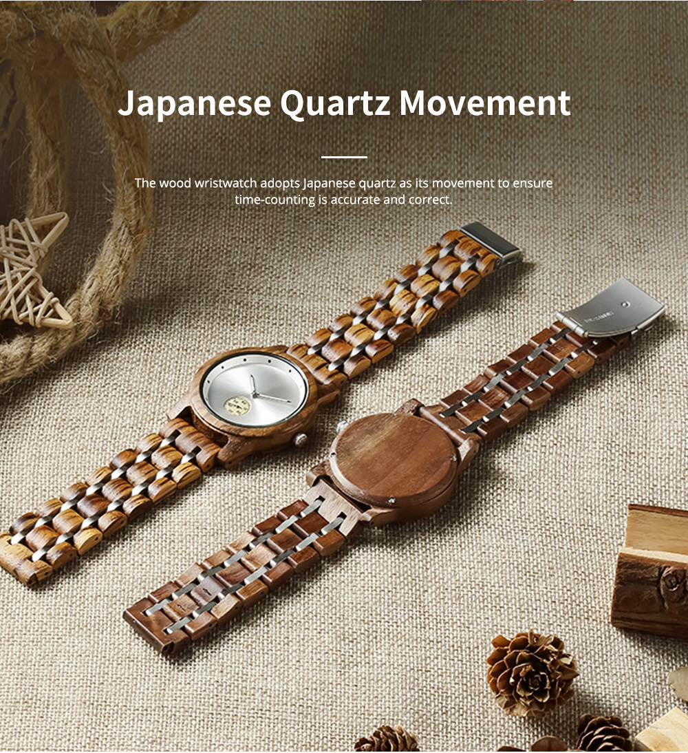 Casual Wood Watch with Wood Watchcase and Bracelet for Unisex Use Waterproof Japanese Quartz Movement Wood-steel-mixed Wristwatch 6