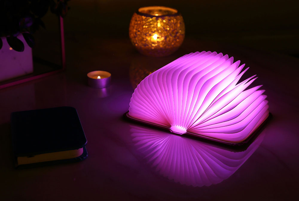 Creative Delicate Book Model Folding USB Charging Bedside Lamp Leather Cover Notebook Colorful Night Light 0