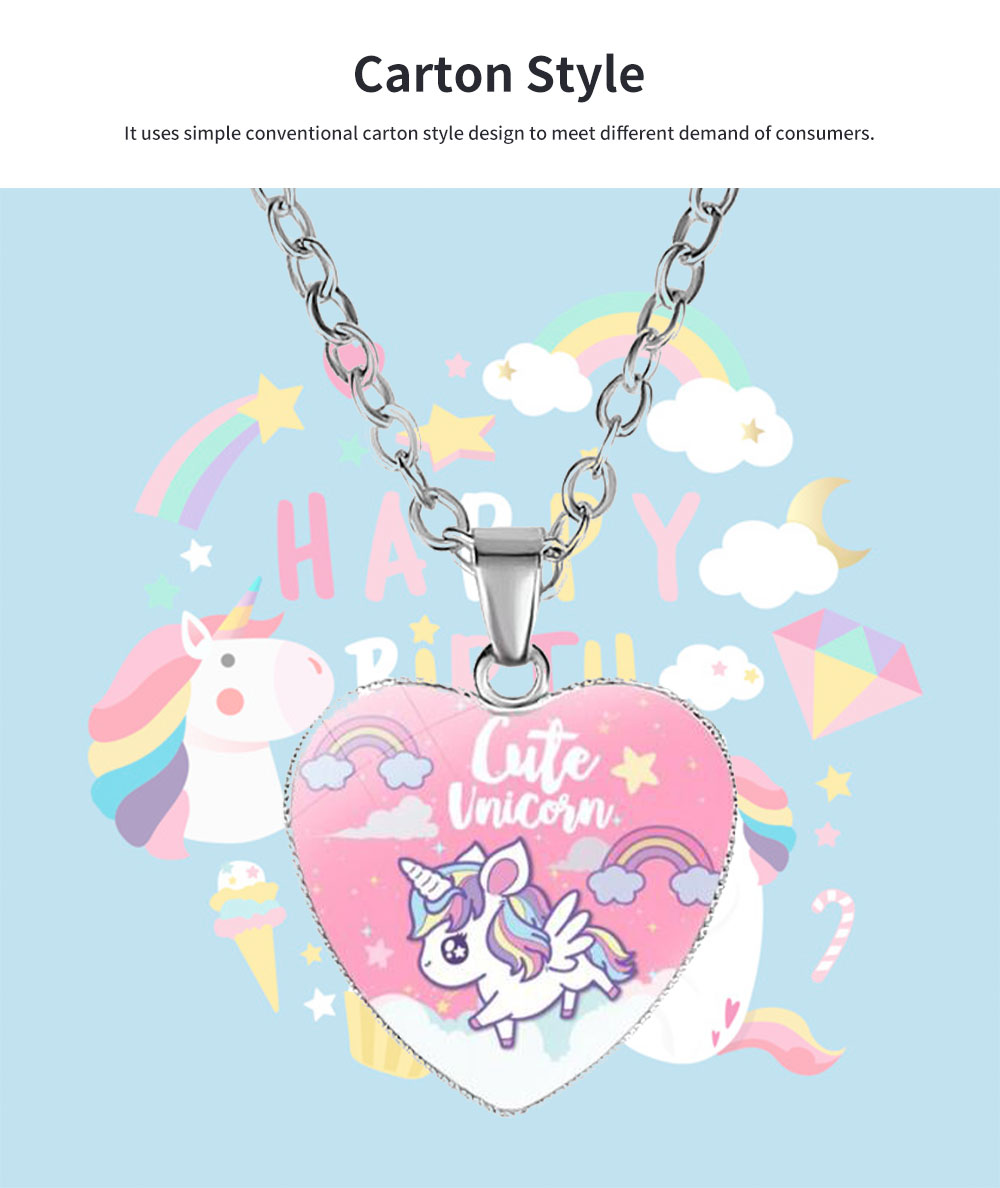 Unicorn Necklace for Birthday Gift Employee Benefit Souvenirs and Wedding Gift, Carton Style Glass Pendant Accessory 4