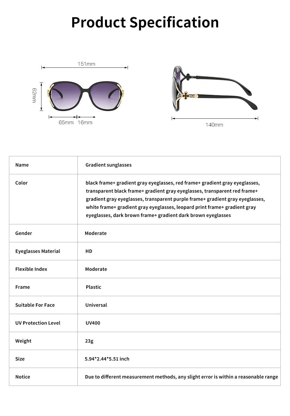 Elegant Fancy Gradient Eyeglasses Ladies Sunglasses UV Sunshine Protection Glasses with Delicate Hollow Clover Pattern Decoration 6