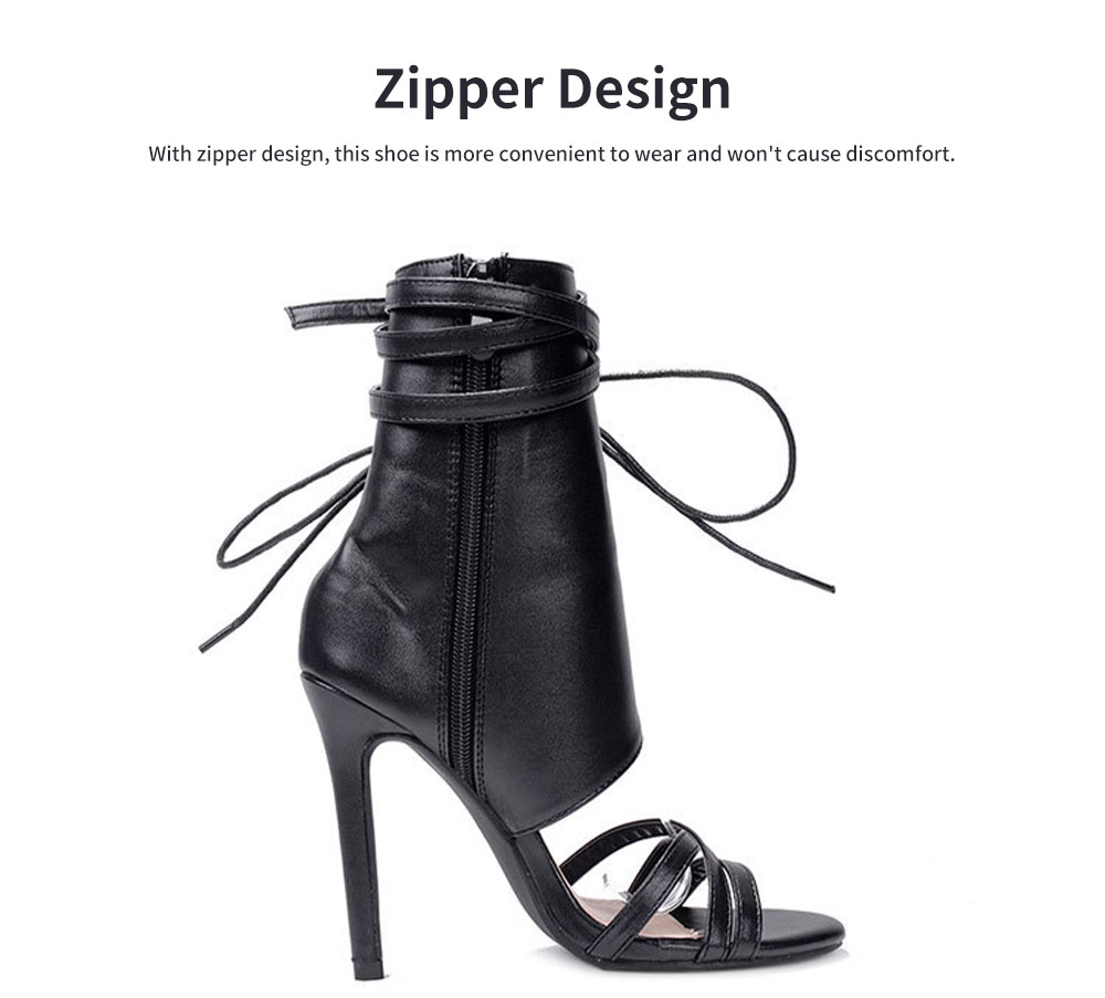 Large Strap Buckle High Heel Boots, Roman Style Fashionable Sexy Boots for Women 4