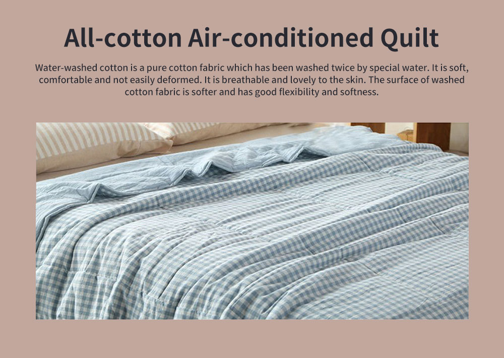 All-cotton Air-conditioned Quilt, Water-washed Cotton Summer Quilt, Machine-washable Small Plaid Pure Cotton Thin Quilt 0