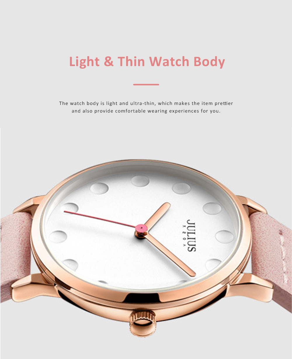 Lady Stylish Minimalist 30M Waterproof Quartz Wrist Watch with Microfiber Leather Strap Delicate Stitching Decoration 4