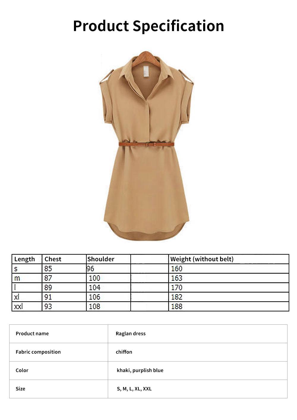 Raglan Dress for Women Lapel Design with Waist Strap Elegant Gorgeous One-piece Chiffon Short-sleeved Dress 6