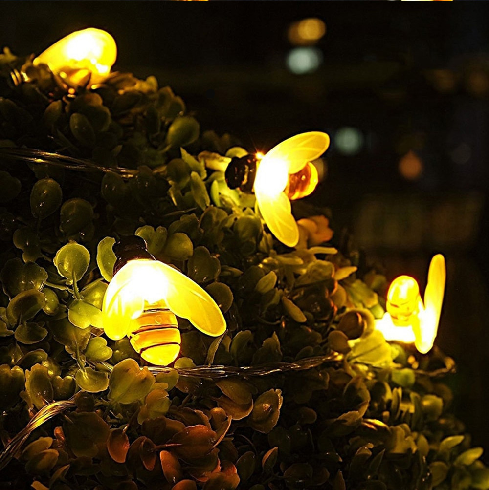 7M 50Leds Christmas Bee Shape Light Solar Powered Outdoor Decorative Lighting Waterproof 2