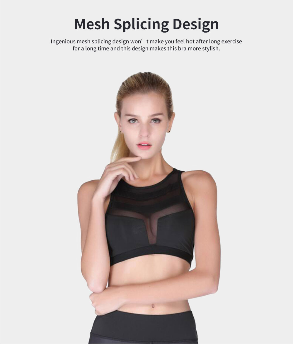 Minimalist Sexy Mesh Splicing Lady Sports Bra Quick-dry Breathable Yoga Dancing Athletic Vest for Women 2