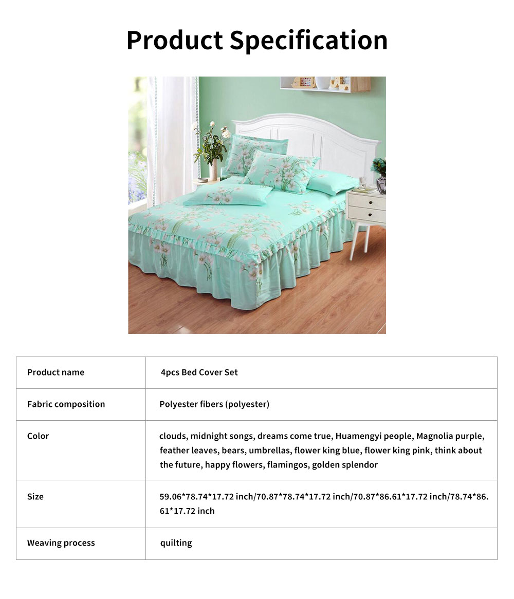 4pcs Bed Skirt Set, Single Bed Cover Double Bed Hat Bed Cover for 1.2/1.5/1.8m /2m Bed 8